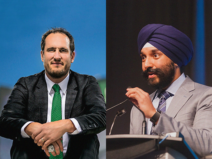 Craig Reynolds, CEO of the Saskatchewan Roughriders and Navdeep Bains, Minister of Innovation, Science and Economic Development
