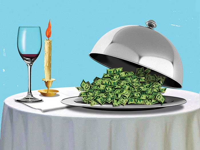 Illustration of a pile money on a silver serving platter, at fancy dinner table setting