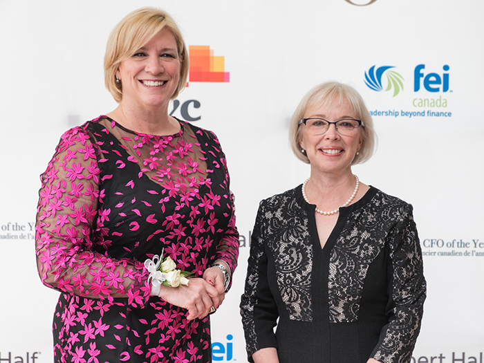 CFOY winner Nathalie Bernier with President and CEO of CPA Canada, Joy Thomas at CFOY award show