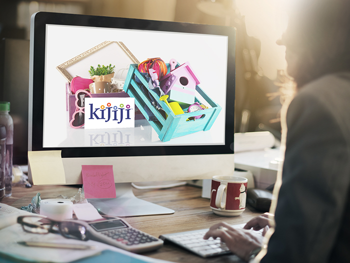 woman shopping on computer, with the visual of a Kijiji logo in front of various things for sale