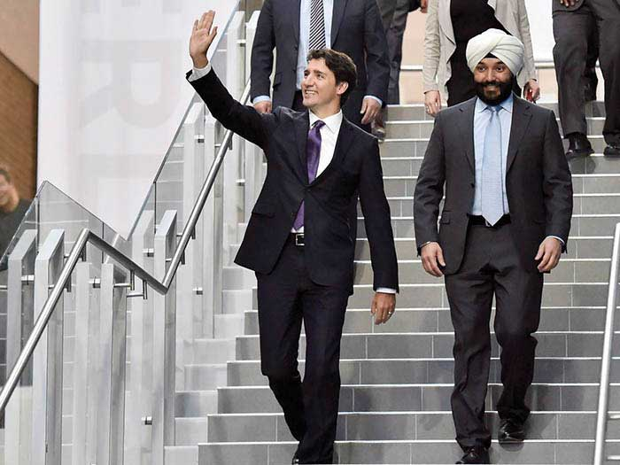 Navdeep Bains with PM Justin Trudeau