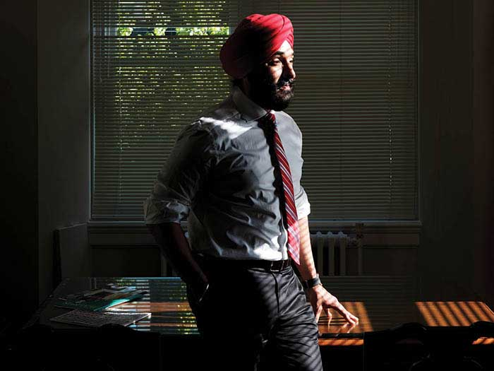 Navdeep Bains portrait in his office