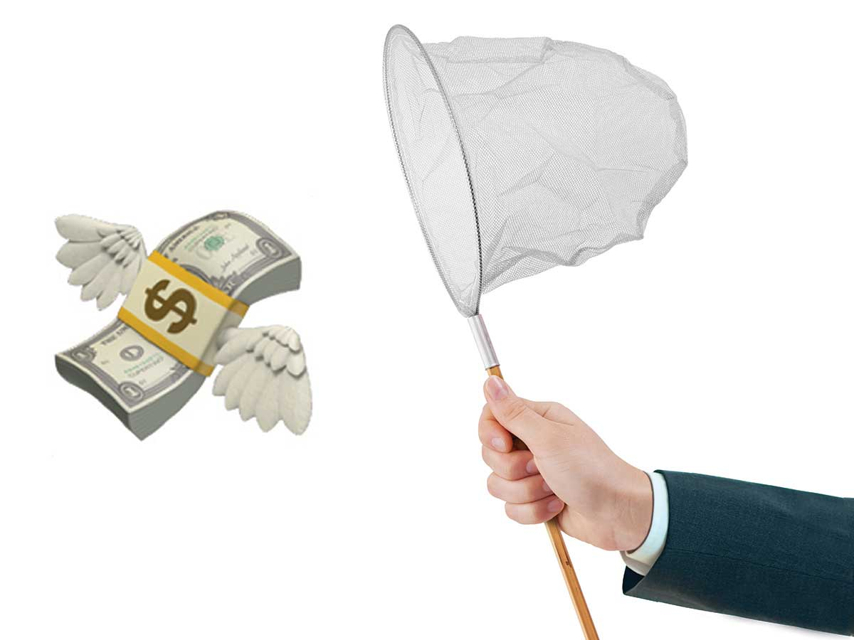 photo of business person holding butterfly net with illustration by Leeanandra Ci of currency with wings