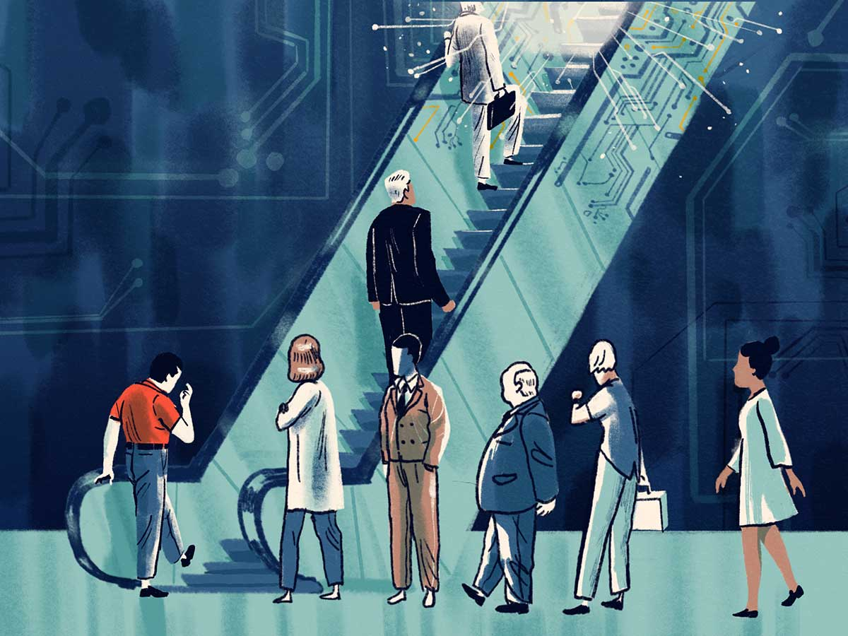 Illustration of people going up an escalator