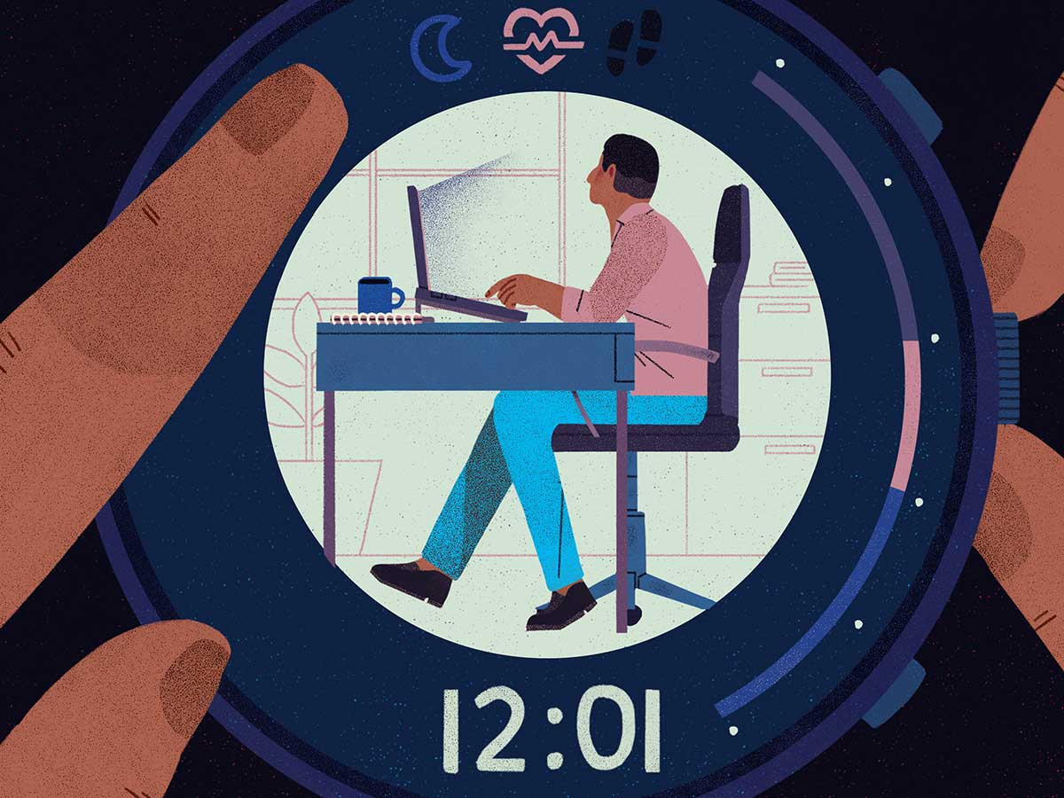 illustration of person working at desk within the face of a watch