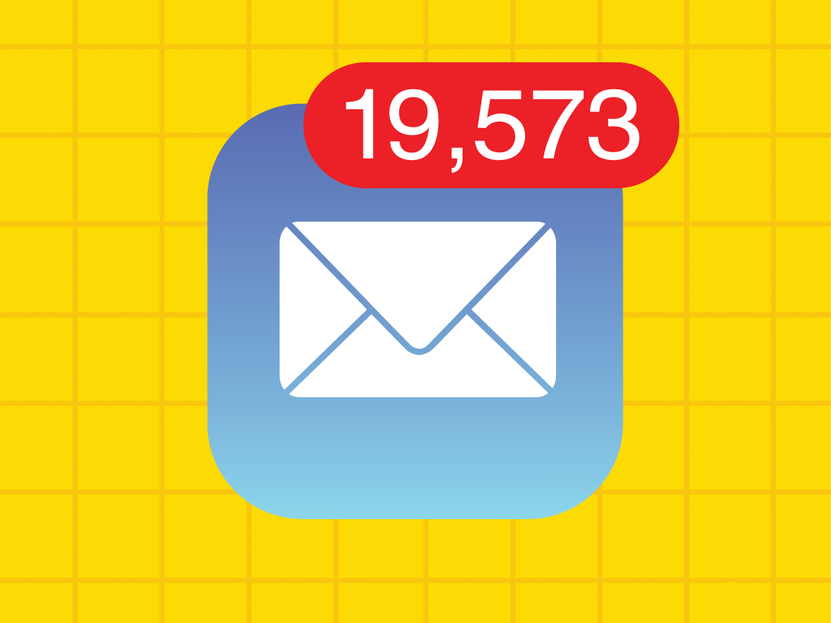 Email icon with nineteen thousand unread emails