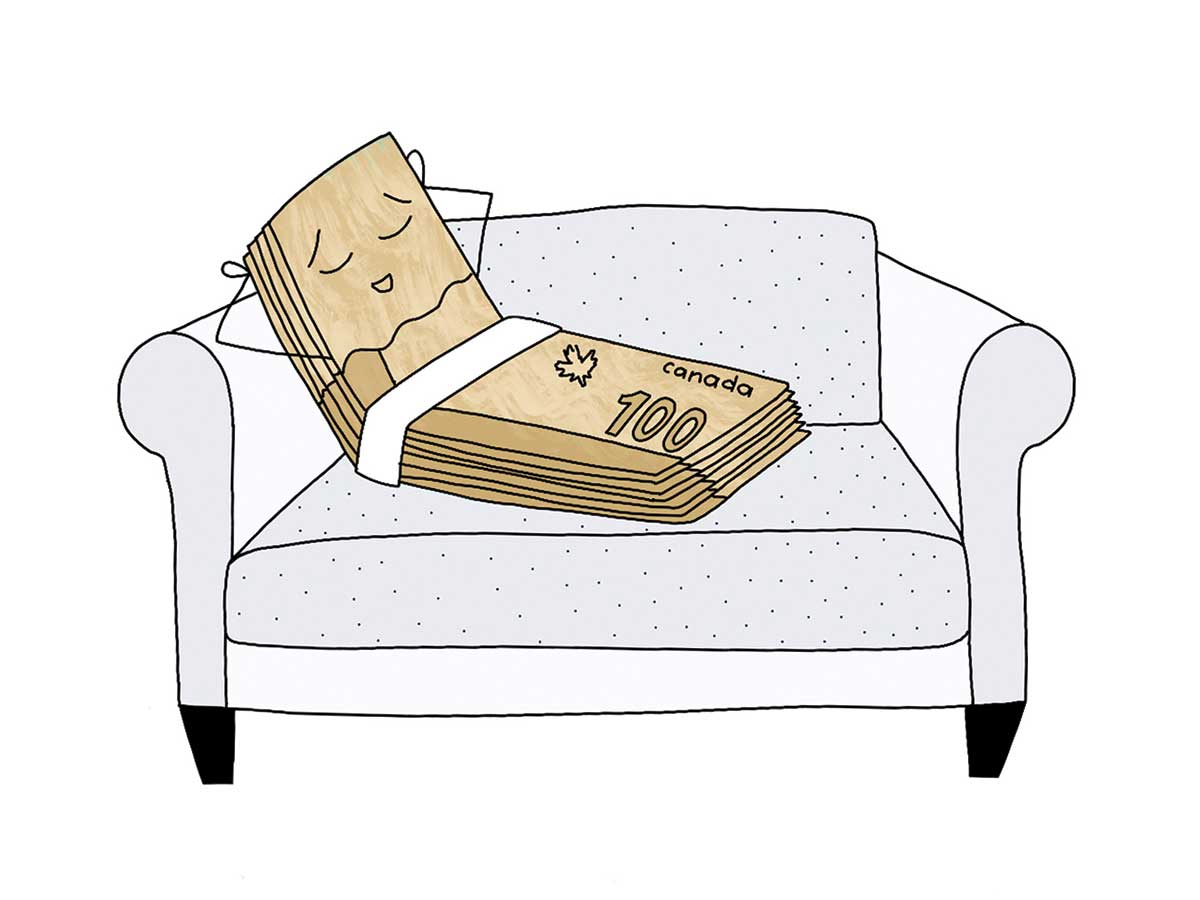 Illustration of a stack-of-money relaxing on a sofa