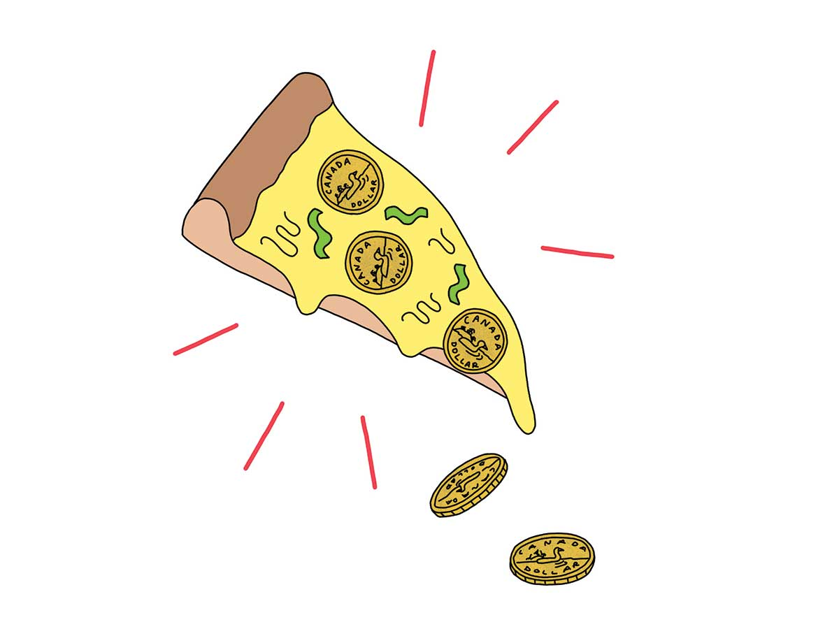 Illustration of a slice of pizza with coins in place of pepperoni