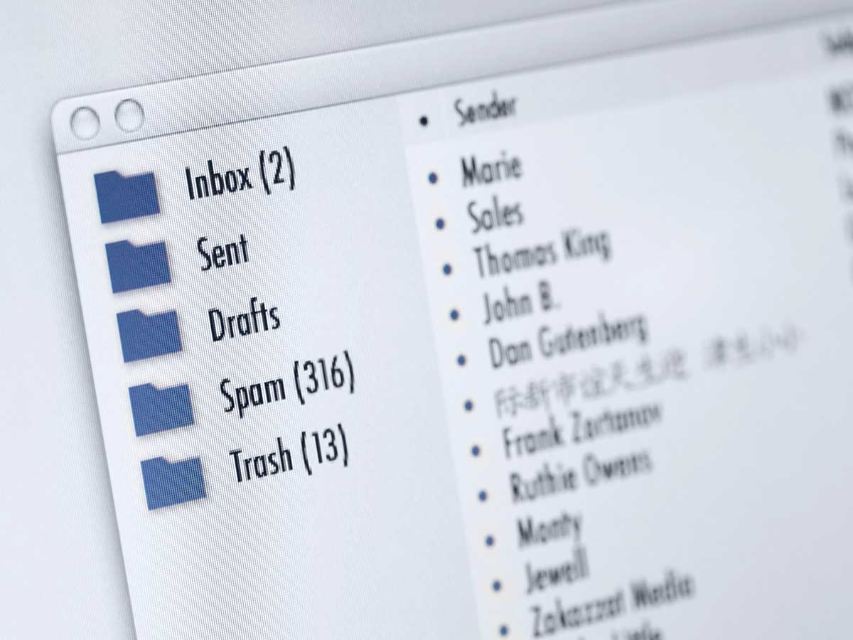 Close up view of the various email boxes on a computer screen