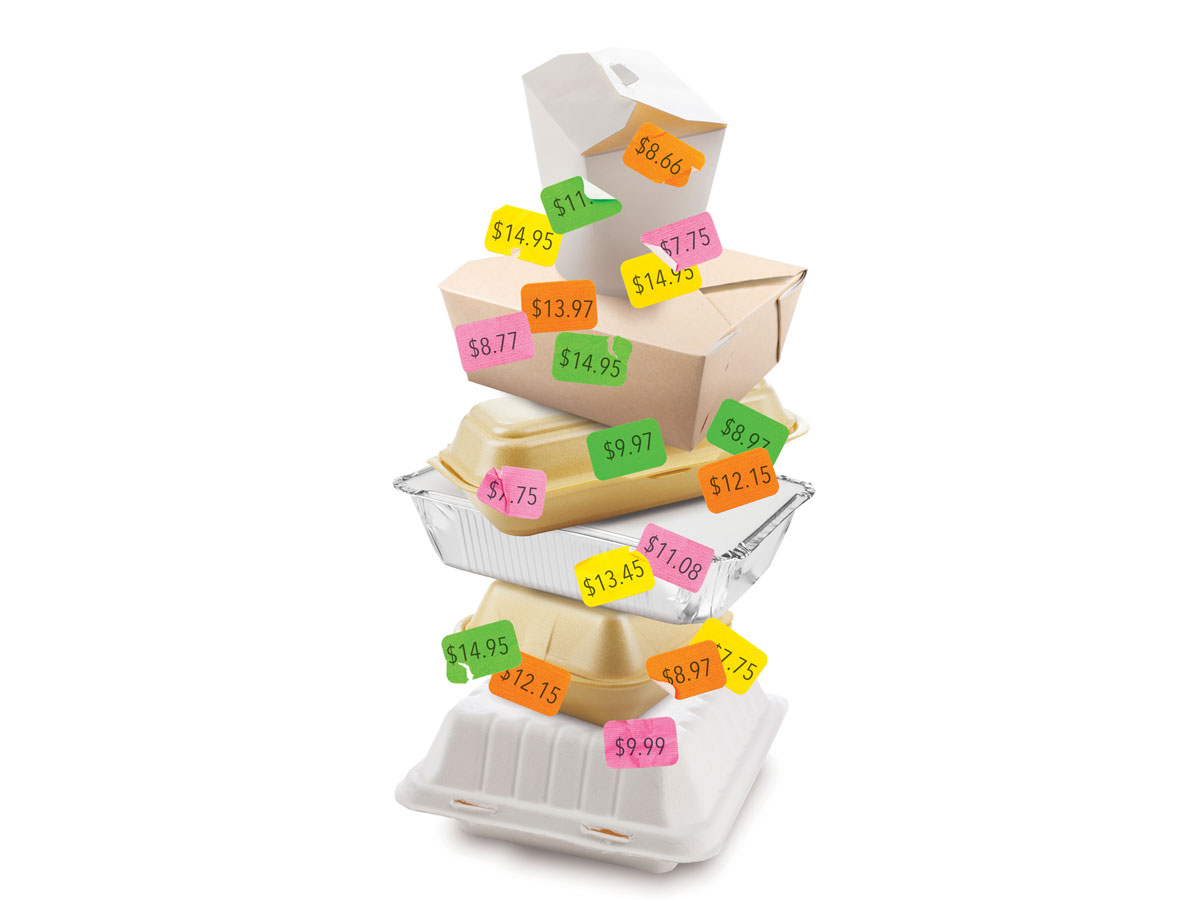 Stacked take out containers with price tags