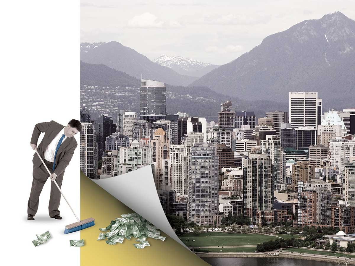 photo illustration of a man sweeping money under a curled back photo of Vancouver city