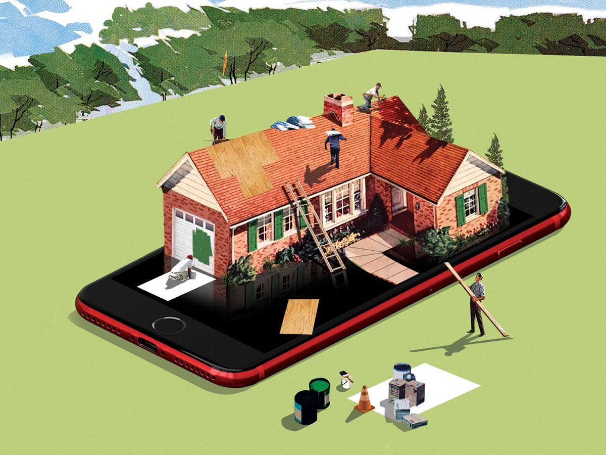 photo illustration of a home being built on a smart phone
