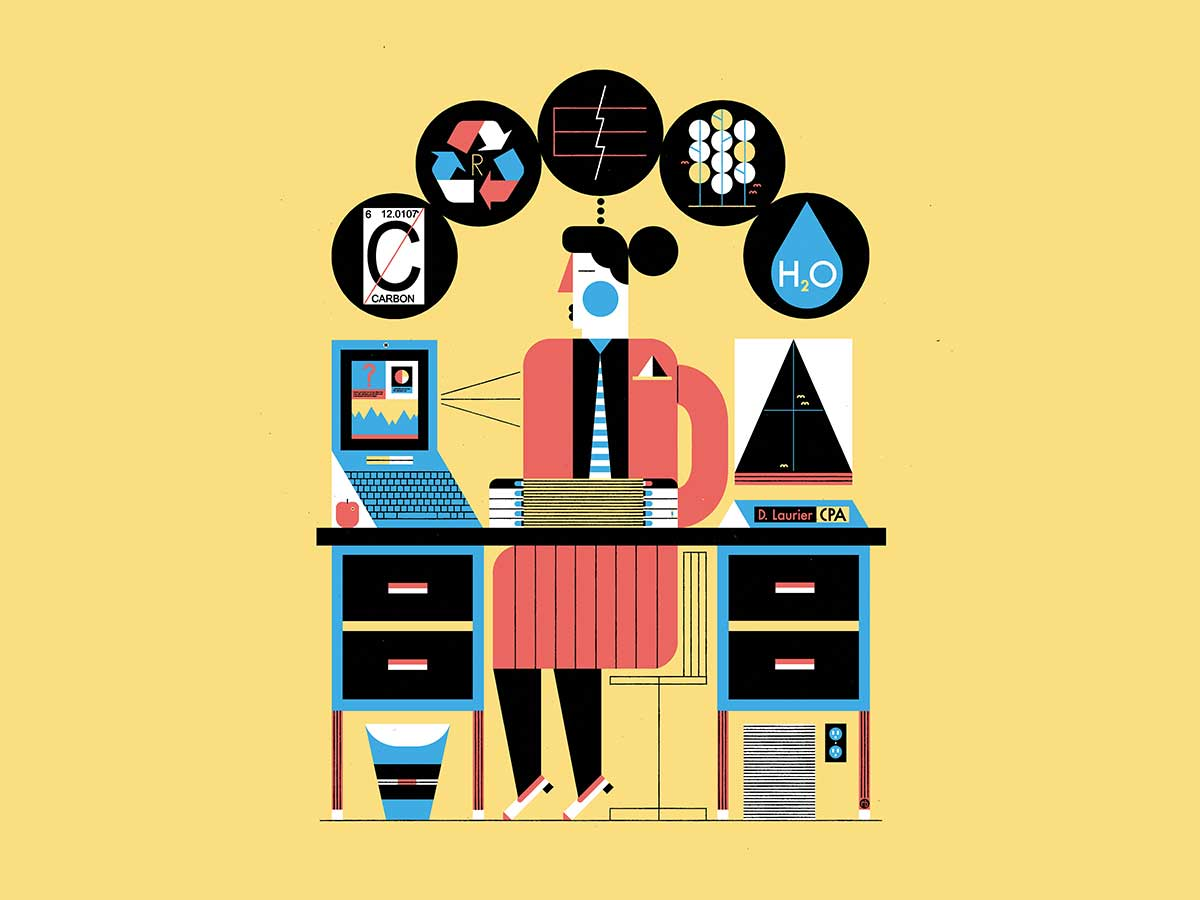Illustration of business person at desk with environment icons over head