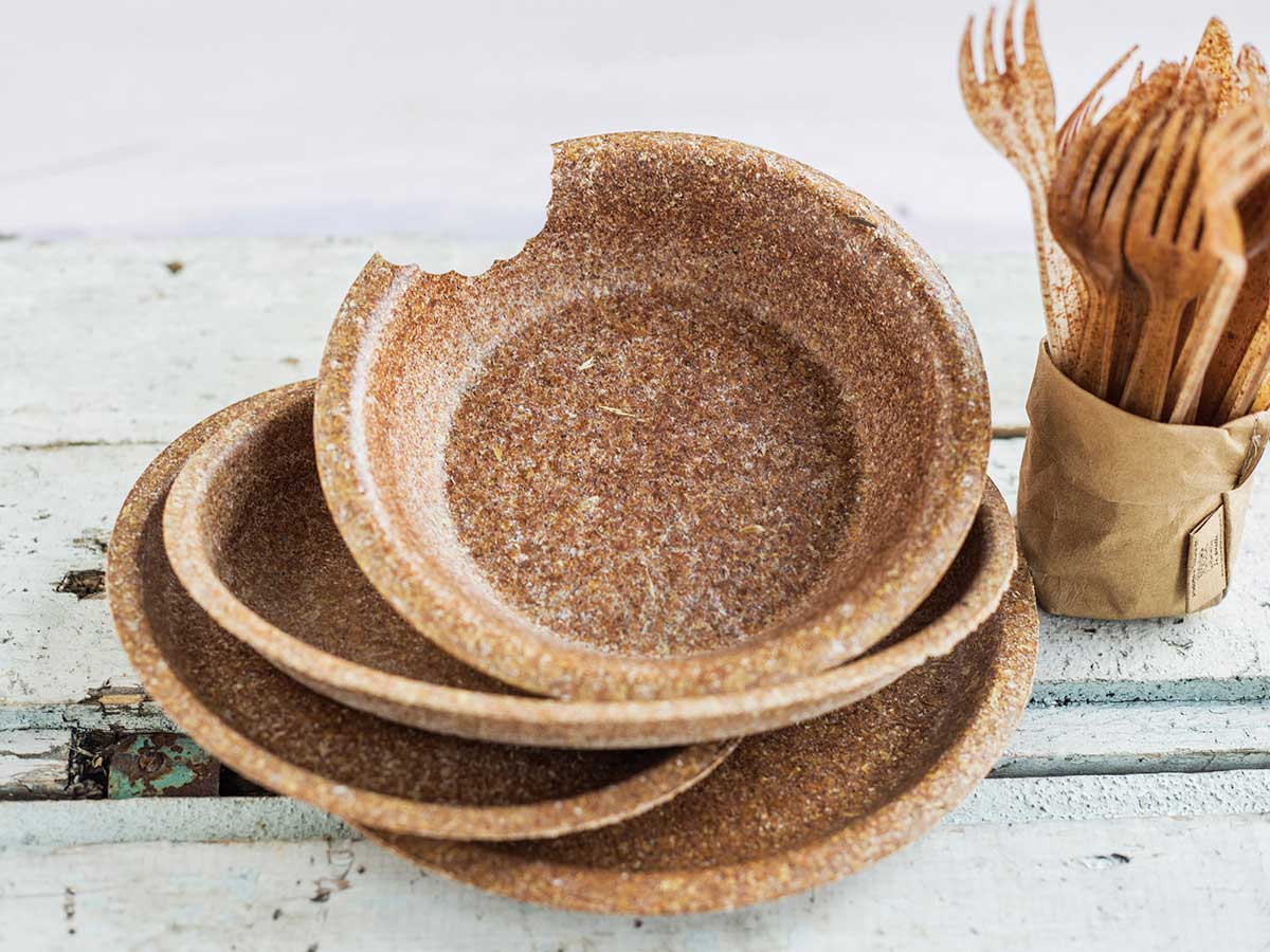 Biotrem's edible wheat bran plates and cutlery