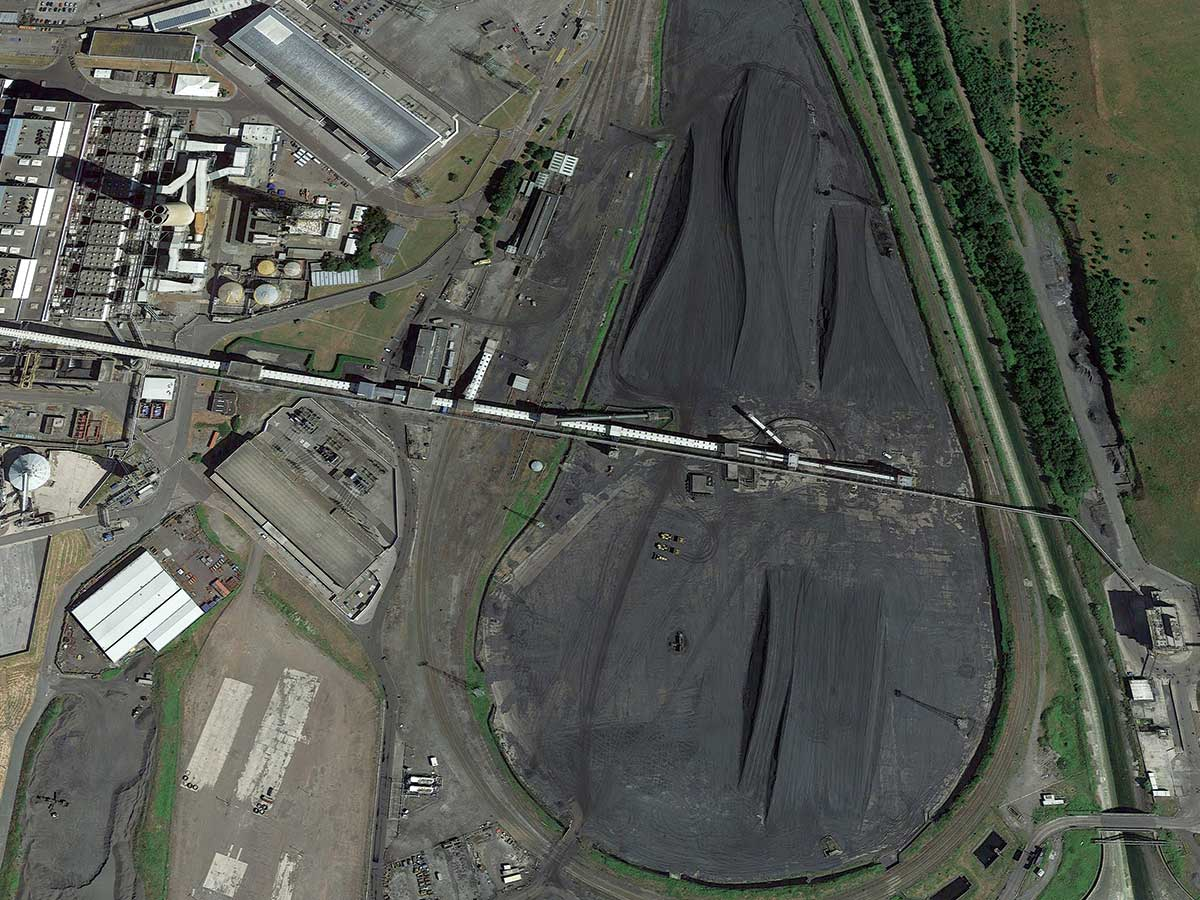 aerial view of power plant in Wales