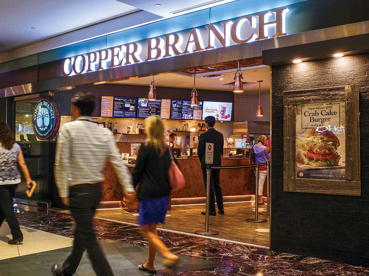 view of vegan franchise 'Copper Branch' in Toronto's Commerce Court underground pathway