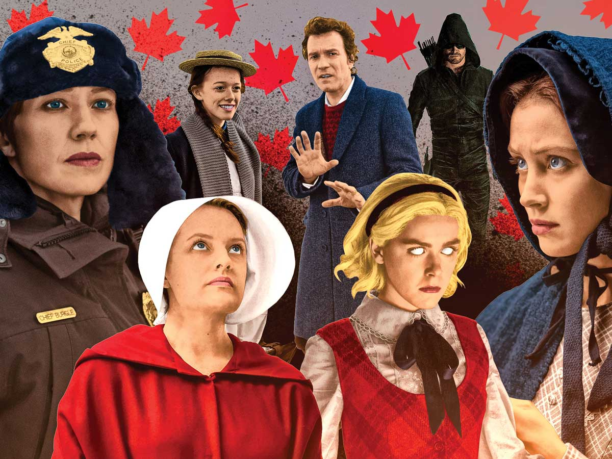 Random images of television characters on a maple leaf background