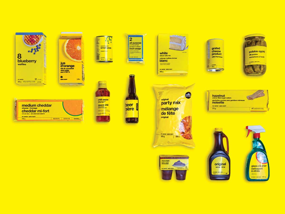 Group of No Name brand products on yellow background