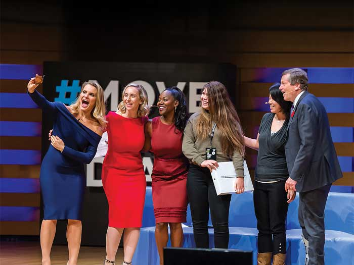 Entrepreneurs Michele Romanow, Kovitz and Bea Arthur with a student, Wealthsimple's Leen Li and Toronto mayor John Tory at the 2018 Move the Dial summit
