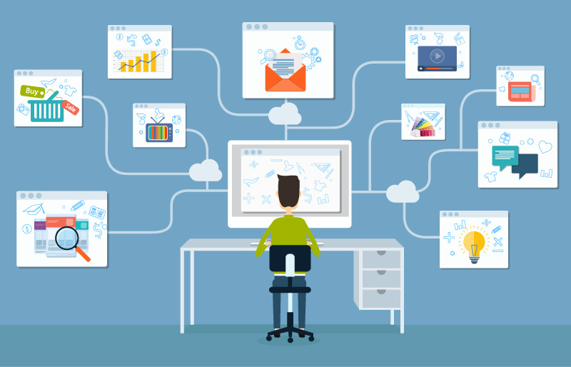 Animated man at desk