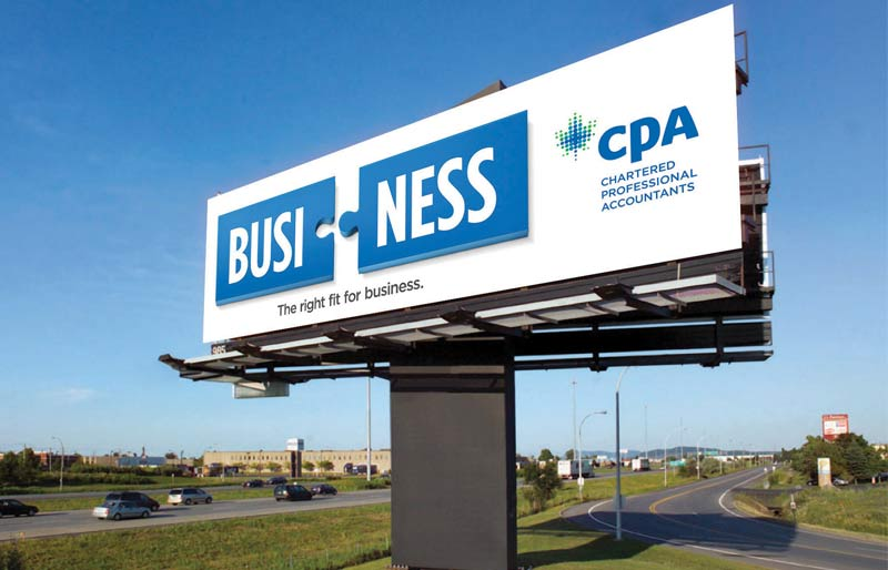 "On this highway billboard, ""busi"" appears on one puzzle piece and ""ness"" appears on another. Together they spell ""business."" This is CPA's new brand campaign."