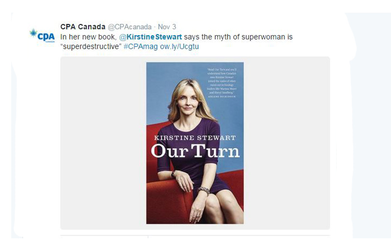 2015 CPA Canada Twitter Feed about Kristine Stewart's new book Our Turn.
