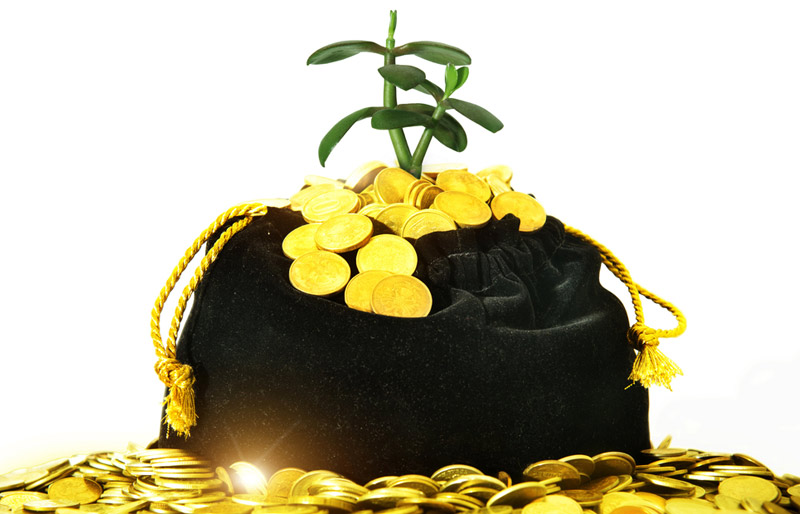 A close-up photo of a black bag filled with gold coins surrounded by a pile of gold coins.