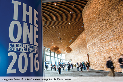 The grand foyer of the Vancouver Convention Centre for the 2016 One Conference.