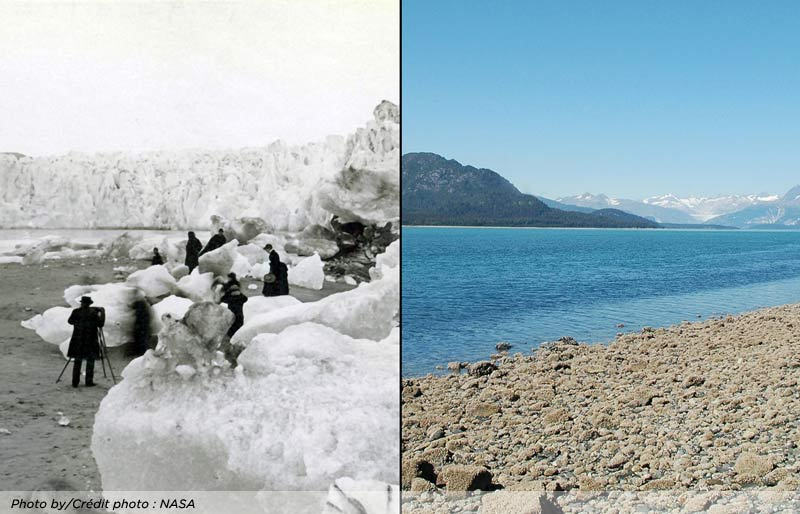 A photo of the Muir Glacier in 1882 and 2005 showing the change. NASA.