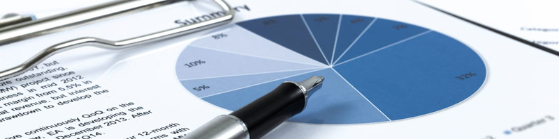 A silver pen sits on a financial report, the tip pointing to a blue pie chart.