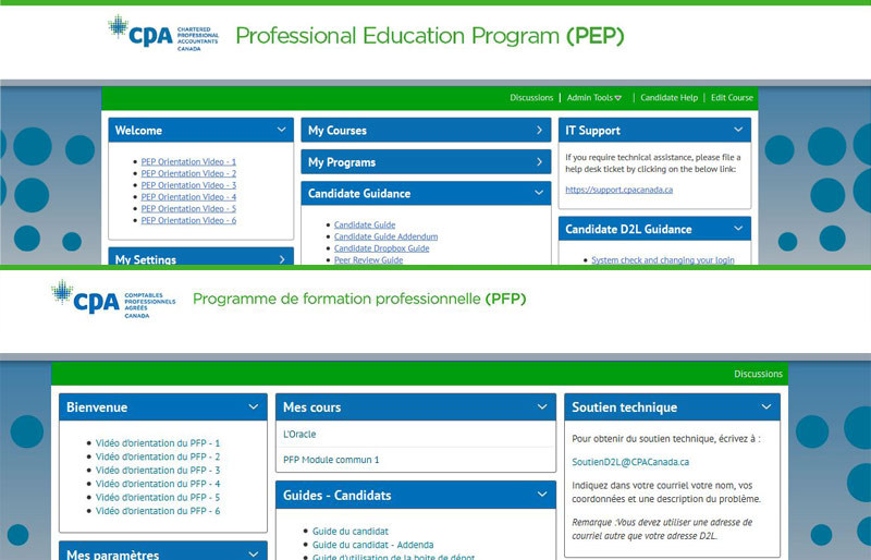 A screenshot of the CPA Canada's Professional Education Program website's homepage featuring the navigation tabs. It is seen in both French and English.