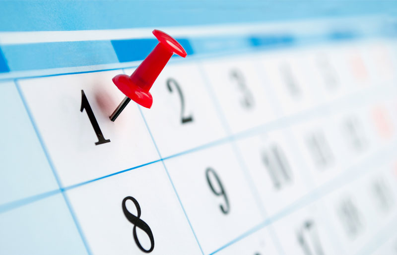 A red thumbtack is pressed into a square on a calendar indicating the first of the month.