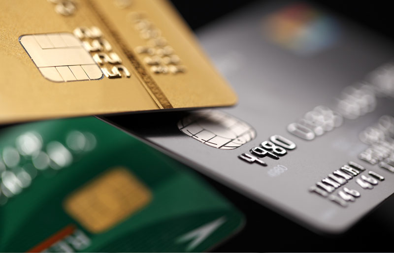 Close up of various credit cards