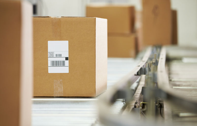 Packaged boxes on warehouse rolling ramps
