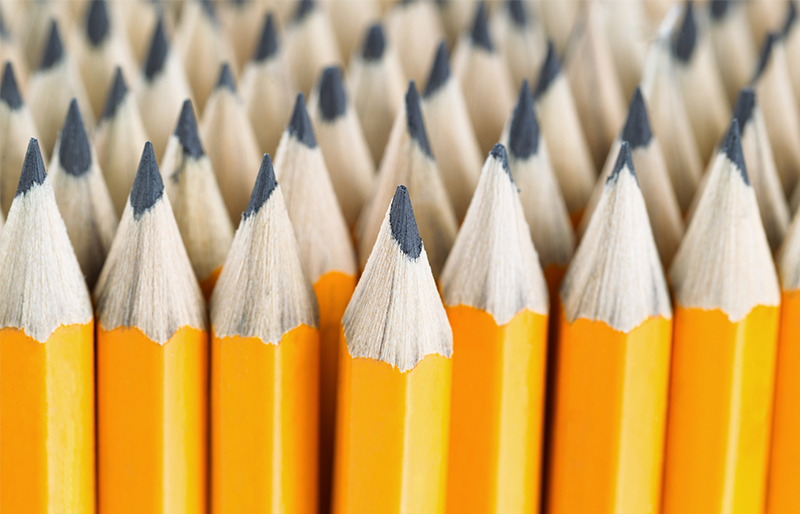An image of group of yellow pencils