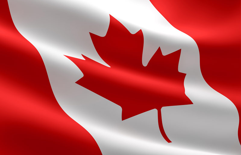 Close crop of rippling Canadian flag in the wind