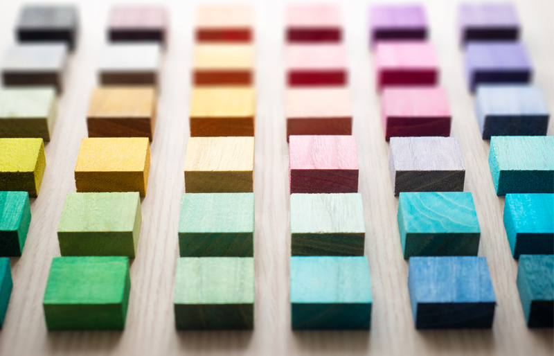 coloured wood blocks aligned into rows