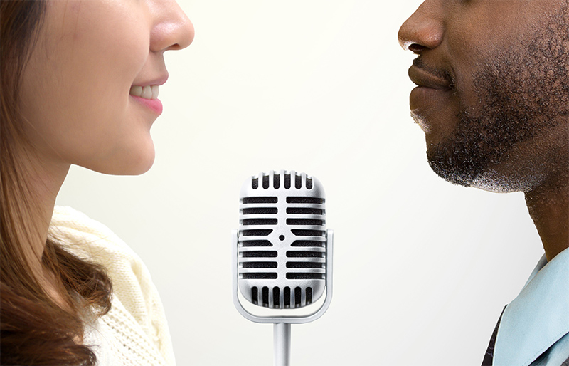 Close-up of a studio microphone for recording podcasts