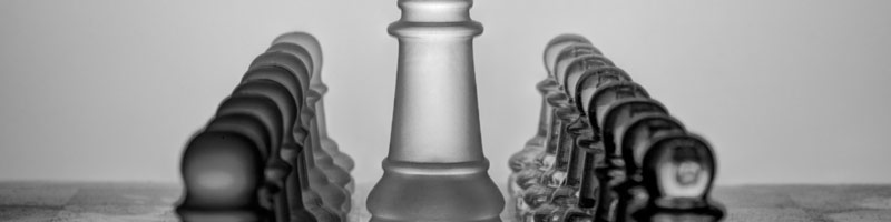 A close up of a chess board with the pawns lined up on either side of the Queen as if listening to what she has to say.
