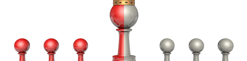 A concept image showing three red and three silver Chess Pawns with a larger half red and silver pawn in the middle waring a crown.