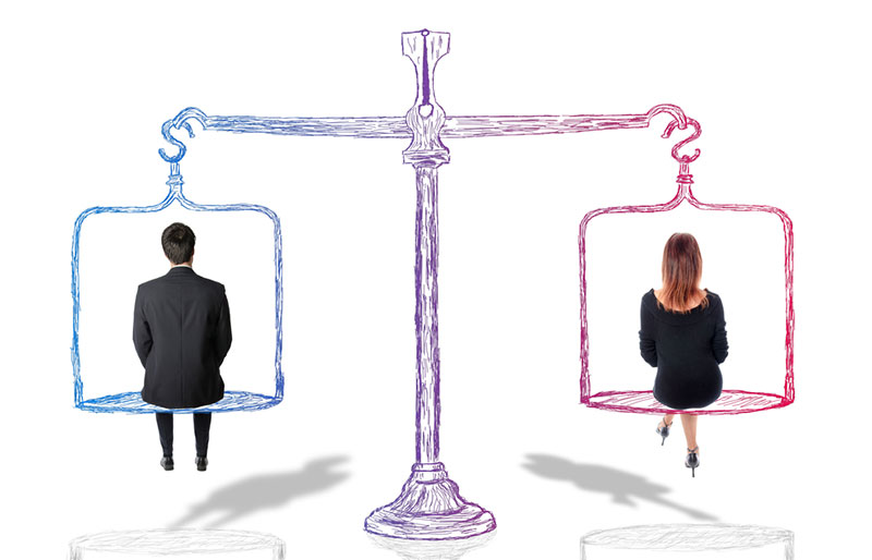 Man and woman sitting on an illustrated scale