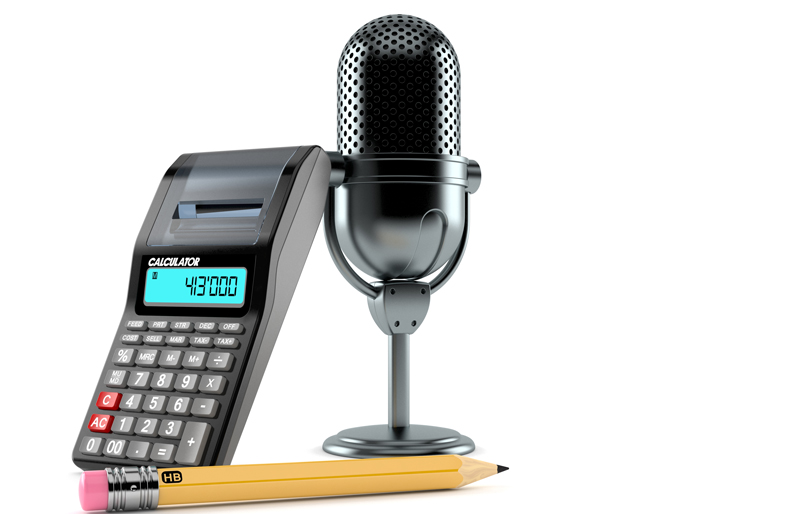 Radio microphone with calculator and pencil isolated on white background