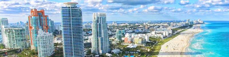 View of skyscrapers and South Beach, Miami, Florida.