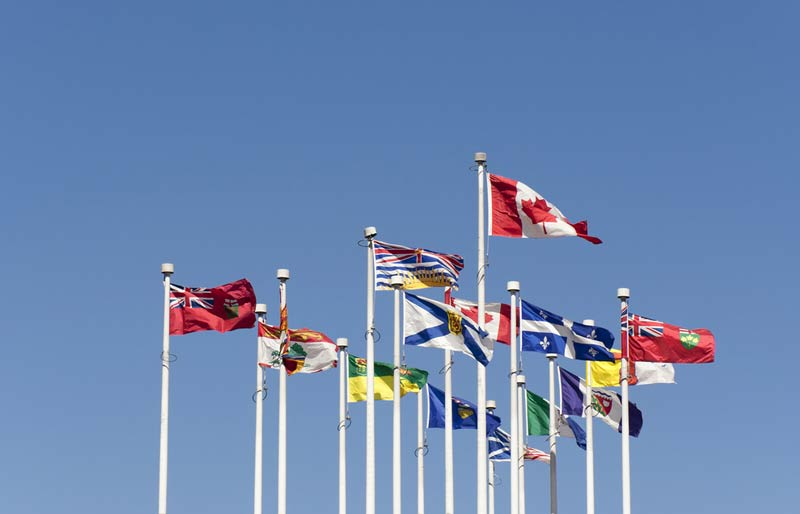 Flags of the Provinces of Canada waving in the sky.