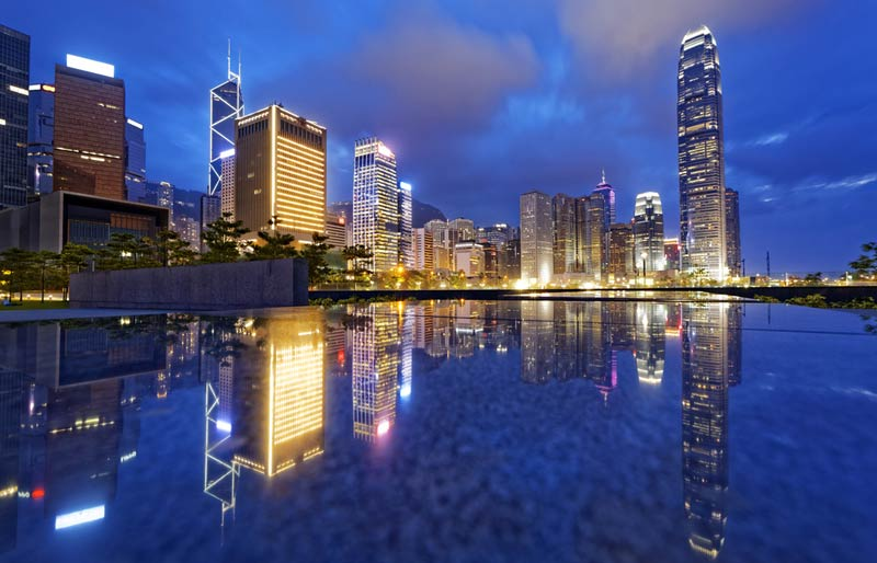 An evening photo of the Hong Kong Skyline