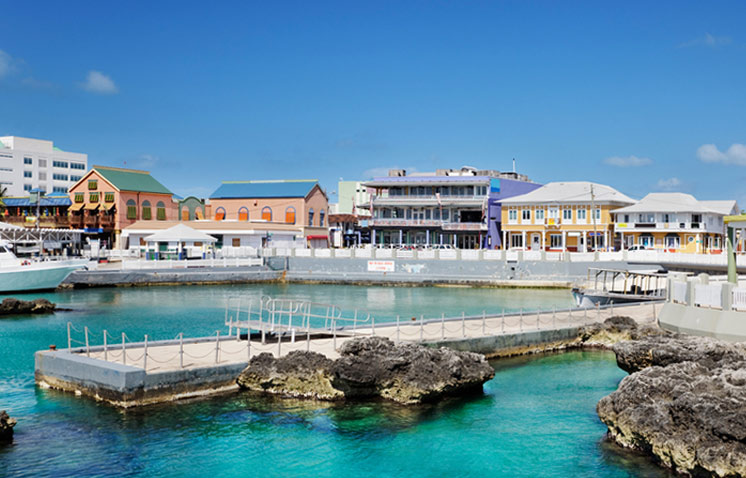 This is a photo of a sea side town in the Cayman Islands.