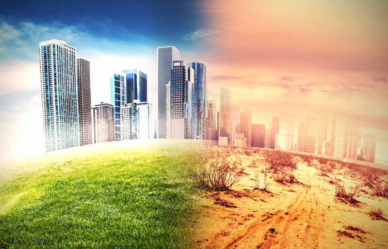 photo illustration depicting both a lush cityscape on one half, and a desert wasteland on the other half