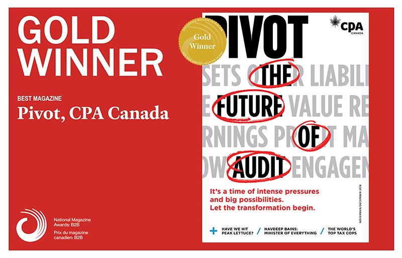 Announcement of Pivot as Gold Winner for Best Magazine, on red background.