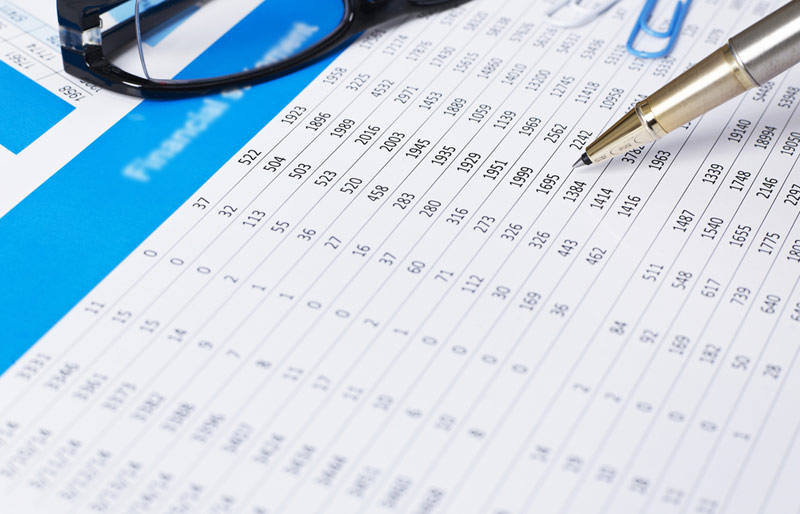 Person reviewing financial statement with pen