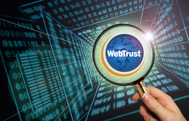 Magnifying glass over WebTrust symbol with digital code in background